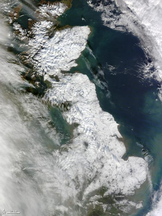 Gran Bretaña nevada