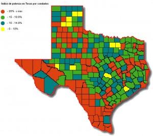 Mapa de la pobreza en Texas.