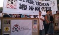 Protestas contra los recortes en el CSIC en Barcelona, el pasado 19 de julio.