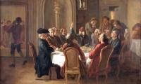 'La Sainte Cène du Patriarche', pintura de Jean Huber que representa una cena ficticia en la que se reunirían en torno a la mesa Voltaire, Diderot, D'Alembert y el barón D'Holbach