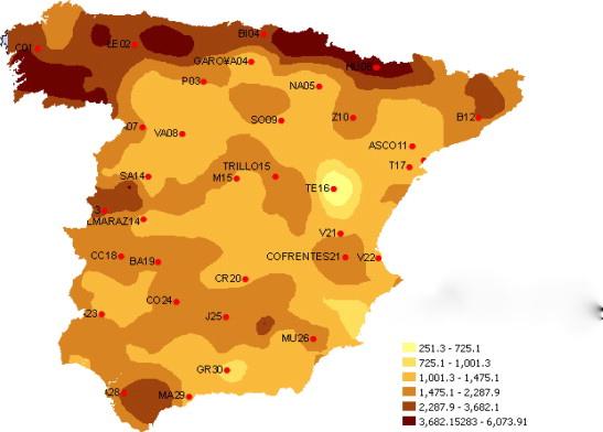 Mapa del cesio-137 depositado en España