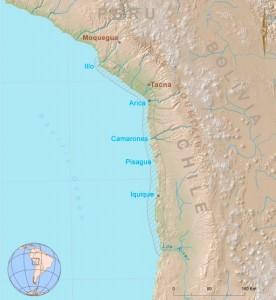 Mapa de los principales yacimientos chinchorro