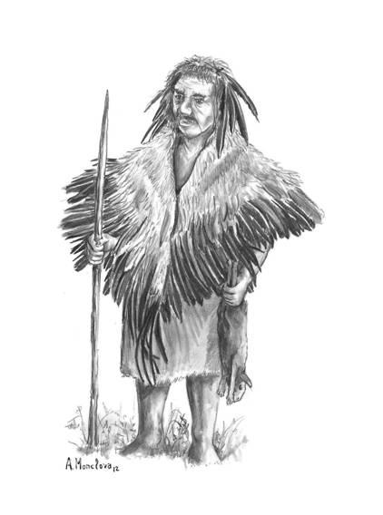 Reconstrucción de un neandertal emplumado
