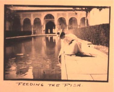 Una turista en el Patio de los Arrayanes de la Alhambra