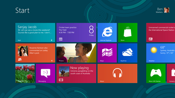 Pantalla de inicio de Windows 8.