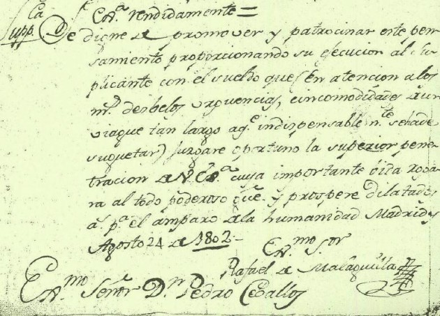 Firma de Malaguilla en un documento del Archivo Histórico Nacional de Madrid