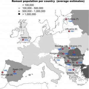 Mapa de la Europa gitana