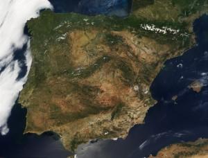 El relieve de la península Ibérica, visto desde el espacio.