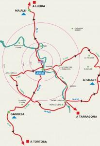 Mapa de zonas de emergencia de Ascó