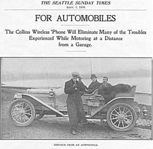 Anuncio de 1909 del teléfono sin cables de Collins
