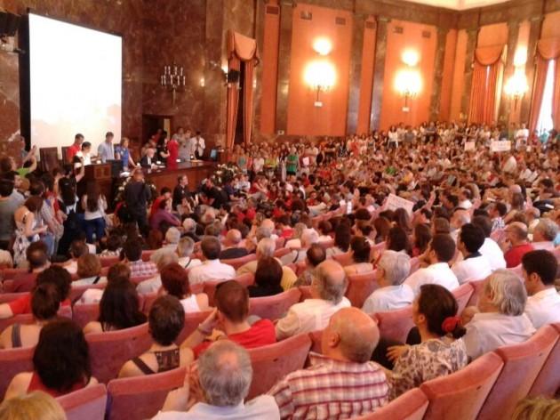 El salón de actos del CSIC, abarrotado hoy en la presentación.