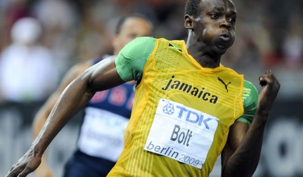 El corredor jamaicano, sobre la pista de Berlín en 2009.