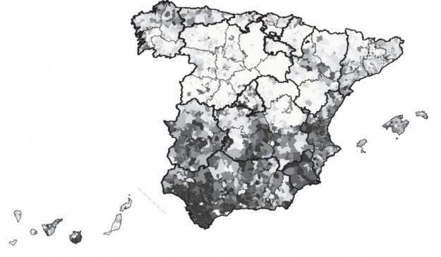 Mapa con todas las causas de mortalidad prematura en mujeres. Las zonas oscuras son las de mayor riesgo