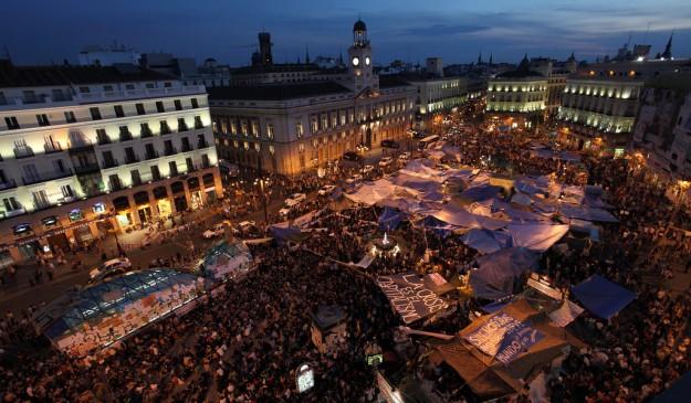 Acampada de protesta en Madrid, el 23 de mayo de 2011