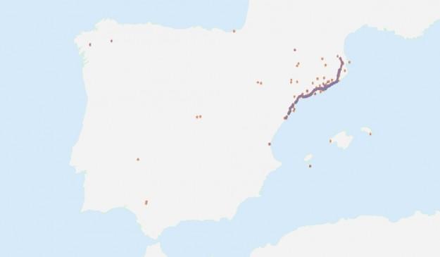 Mapa mostrando tuits similares en toda España, entre las 15:00 y las 17:00