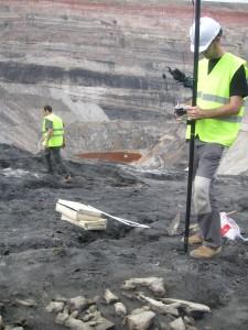 Los investigadores toman datos en la mina. En primer plano, huesos del anquilosuario.