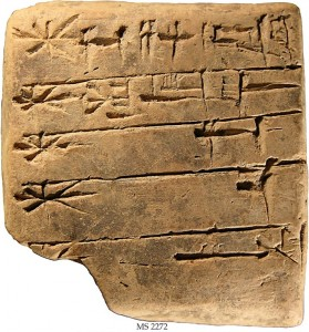 Tablilla de arcilla de hace 4.400 años con un listado de dioses sumerios