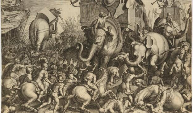 Recreación de la Batalla de Zama entre Escipión y los elefantes de Aníbal.