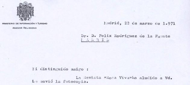 Primera carta del cura censor de TVE a Rodríguez de la Fuente