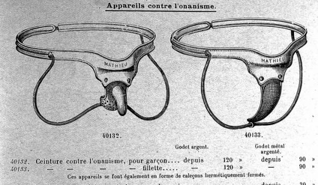 Cinturones de castidad para evitar la masturbación.