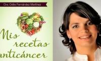 Cartel promocional de Odile Fernández y su libro 'Mis recetas anticáncer'.