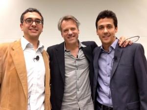 Michel Maharbiz, Wally Pfister y José Carmena, el 9 de abril
