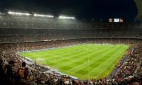 Aspecto del estadio del F. C. Barcelona durante un partido.