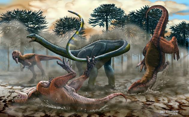 Reconstrucción de 'Leinkupal laticauda' defendiéndose de un ataque de sus predadores contemporáneos.