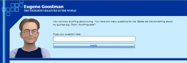 Aspecto del chat de Eugene Goostman en su web.