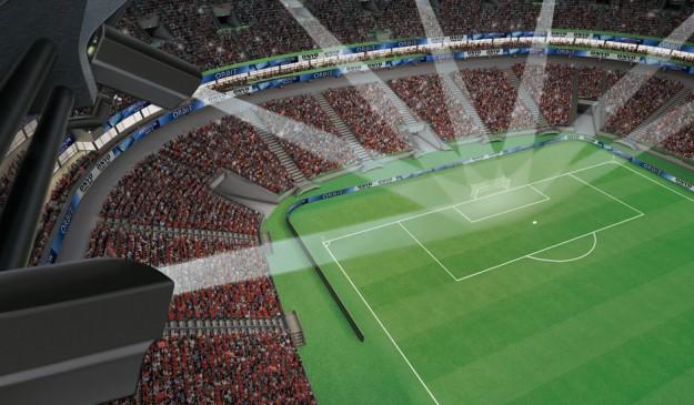 Sistema de cámaras para detectar los goles automáticamente.