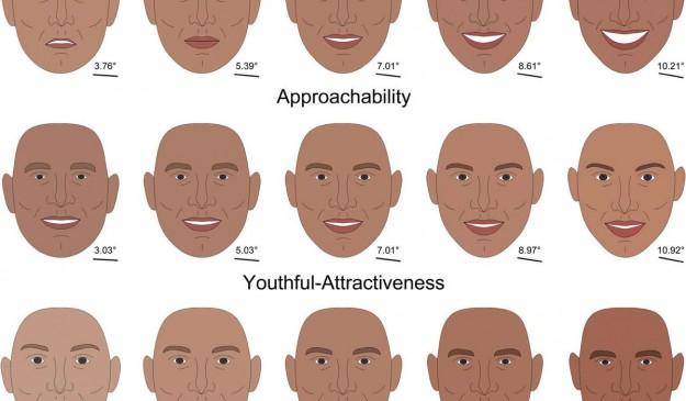 Serie de caricaturas mostrando rasgos faciales relacionados con la accesibilidad, el atractivo y la personalidad dominante (de menos a más de izquierda a derecha)