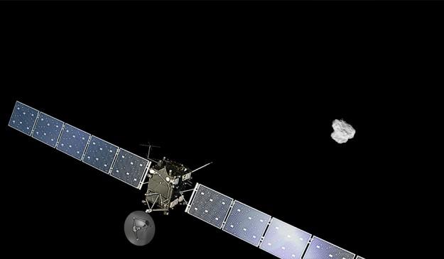 Impresión artística del encuentro entre estos dos desconocidos, Rosetta y 67P.