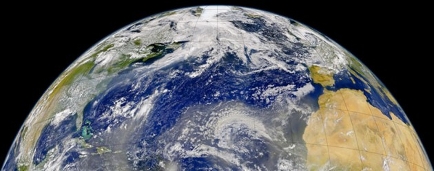 Vista del océano Atlántico desde satélite