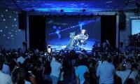 Hawking, al comienzo de su charla.